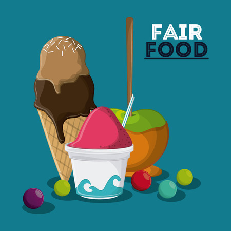 county fair: ice cream apple fair food snack carnival festival icon. Colorful design. Vector illustration
