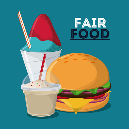 county fair: ice cream hamburger fair food snack carnival festival icon. Colorful design. Vector illustration
