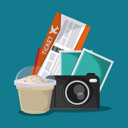 milk shake: ticket camera milk shake time travel vacation trip icon. Colorful design. Vector illustration Illustration