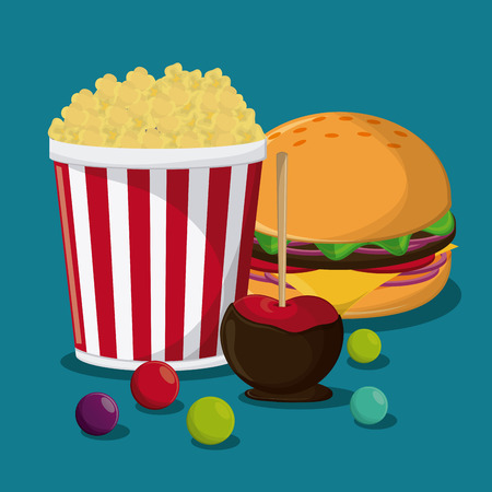 pop corn hamburger apple fair food snack carnival festival icon. Colorful design. Vector illustration Stock Vector - 61380043