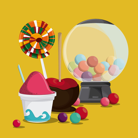 ice cream apple candy fair food snack carnival festival icon. Colorful design. Vector illustration