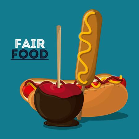 hot dog apple corn dog fair food snack carnival festival icon. Colorful design. Vector illustration
