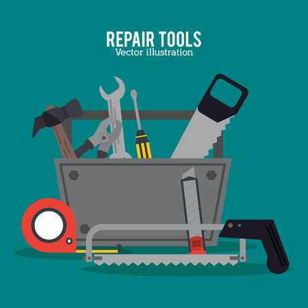 hammer saw meter screwdriver pliers repair tools construction icon. Colorful design. Vector illustration Illustration