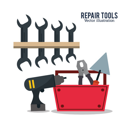 spatula pliers wrench drill repair tools construction icon. Colorful design. Vector illustration Illustration