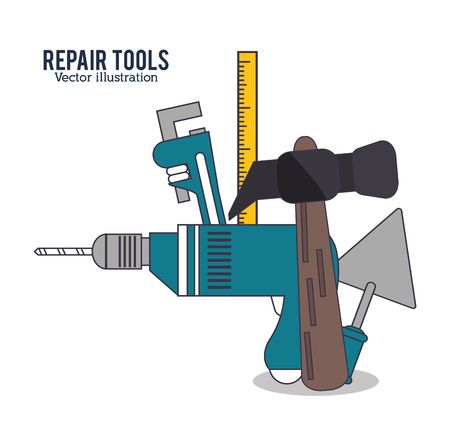 hammer drill: hammer drill ruler spatula repair tools construction icon. Colorful design. Vector illustration Illustration