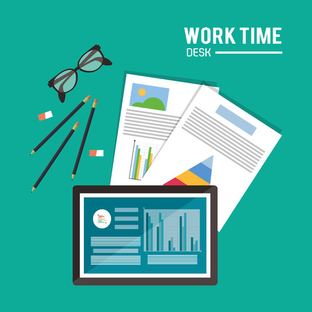office supply: tablet infographic glasses pencil worktime desk office supply icon. Colorful design. Vector illustration