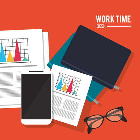 office supply: notebook document infographic smartphone worktime desk office supply icon. Colorful design. Vector illustration