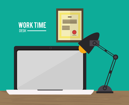 office supply: laptop lamp worktime desk office supply icon. Colorful design. Vector illustration Illustration
