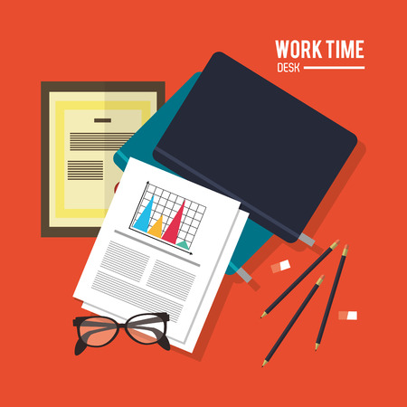office supply: notebook document infographic pencil glasses worktime desk office supply icon. Colorful design. Vector illustration Illustration