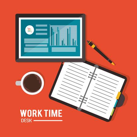office supply: tablet infographic notebook mug worktime desk office supply icon. Colorful design. Vector illustration Illustration