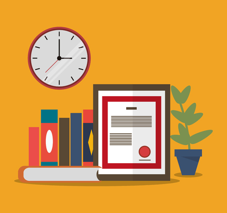 office supply: book document plant clock worktime desk office supply icon. Colorful design. Vector illustration