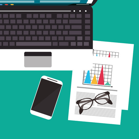 office supply: laptop infographic smartphone glasses worktime desk office supply icon. Colorful design. Vector illustration