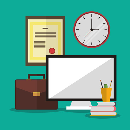 office supply: computer clock worktime desk office supply icon. Colorful design. Vector illustration