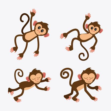 ape: monkey cartoon animal ape icon set. Colorful design. Vector illustration Illustration