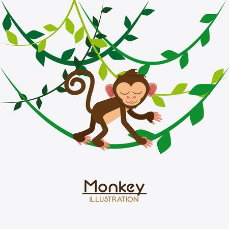 ape: monkey leaves cartoon animal ape icon. Colorful design. Vector illustration