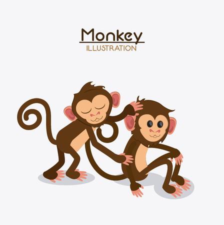 ape: monkey couple cartoon animal ape icon. Colorful design. Vector illustration Illustration