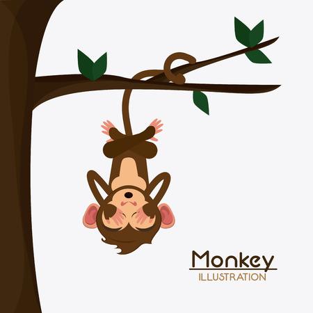 ape: tree leaves monkey cartoon animal ape icon. Colorful design. Vector illustration