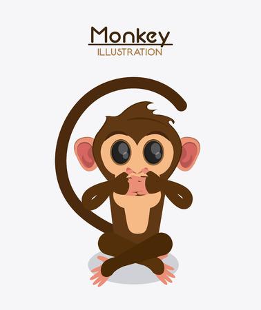 monkey cartoon animal ape icon. Colorful design. Vector illustration