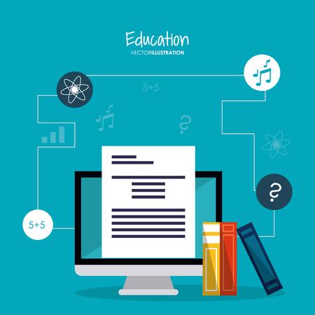 computer education: computer book atom music education learning school icon. Colorful design. Vector illustration Illustration