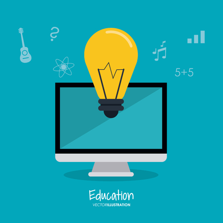 computer education: computer bulb education learning school icon. Colorful design. Vector illustration