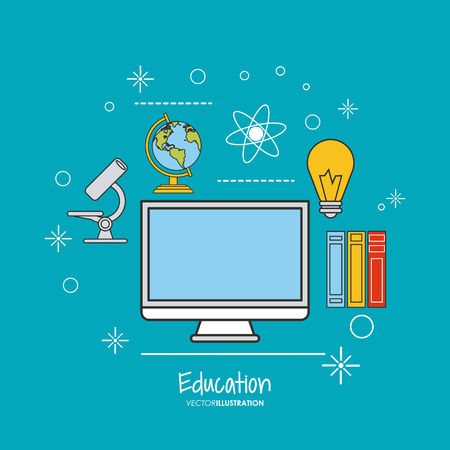 computer education: computer book planet microscope bulb education learning school icon. Colorful design. Vector illustration