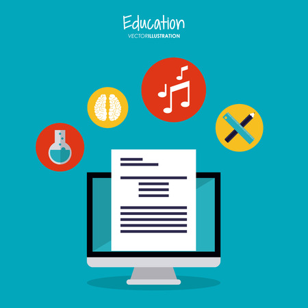 computer education: computer brain flask music note pencil ruler education learning school icon. Colorful design. Vector illustration