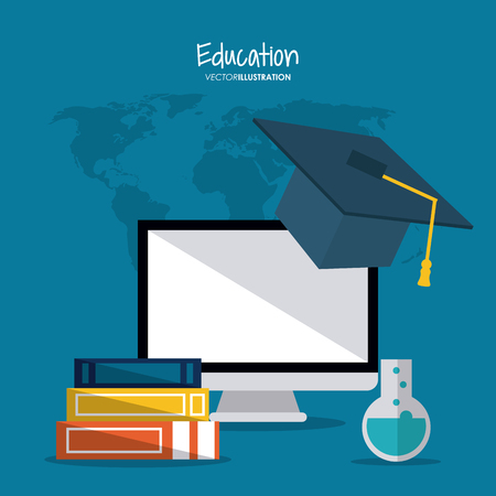 computer education: graduation cap computer flask books education learning school icon. Colorful design. Vector illustration Illustration