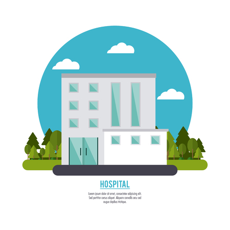 hospital building cloud clinic medical health care icon. Colorful and circle design . Vector illustration Stock fotó - 61361403