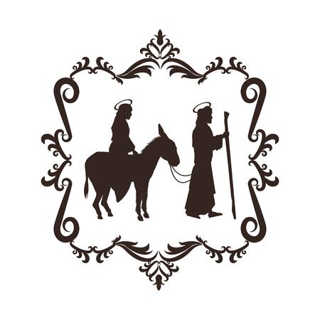 black maria: joseph maria holy family merry christmas frame icon. Black white isolated design. Vector illustration