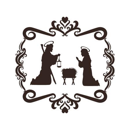 sacra famiglia: joseph mary holy family merry christmas frame icon. Black white isolated design. Vector illustration