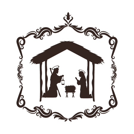 joseph mary holy family merry christmas frame icon. Black white isolated design. Vector illustration