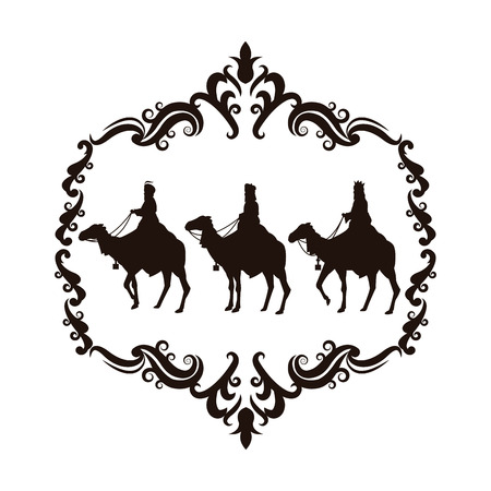 holy family: wise man camel holy family merry christmas frame icon. Black white isolated design. Vector illustration Illustration