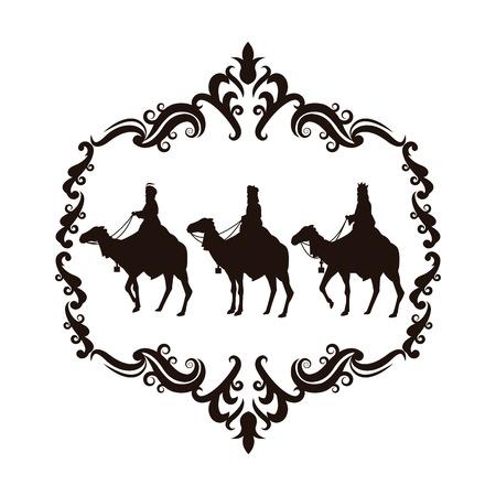 wise man: wise man camel holy family merry christmas frame icon. Black white isolated design. Vector illustration Illustration