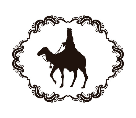 wise man camel holy family merry christmas frame icon. Black white isolated design. Vector illustration Illustration