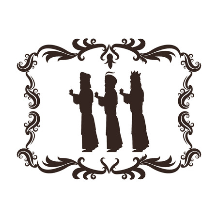 holy family: wise man holy family merry christmas frame icon. Black white isolated design. Vector illustration