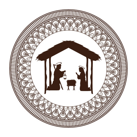holy family: joseph mary holy family merry christmas frame icon. Black white isolated design. Vector illustration