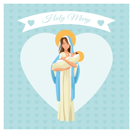 holy family: mary holy baby jesus family merry christmas icon. Pastel heart ribbon colorful design. Vector illustration