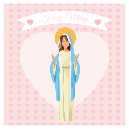 holy family: mary holy family merry christmas icon. Pastel heart ribbon colorful design. Vector illustration