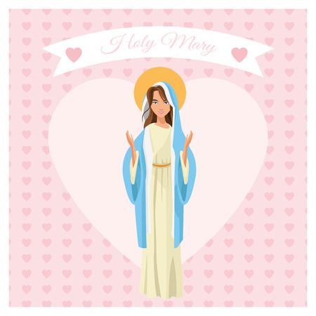 sacra famiglia: mary sacra famiglia Buon Natale icona. nastro cuore Pastello design colorato. illustrazione di vettore Vettoriali