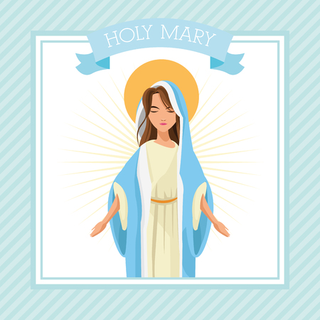 holy family: mary holy family merry christmas icon. Pastel frame ribbon colorful design. Vector illustration