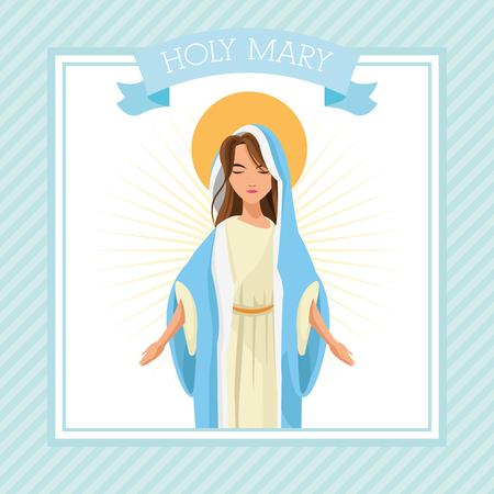 sacra famiglia: mary sacra famiglia Buon Natale icona. telaio del nastro Pastello design colorato. illustrazione di vettore Vettoriali