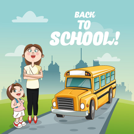cartoon school girl: yellow bus girl teacher back to school cartoon icon. Colorful design. Vector illustration Illustration