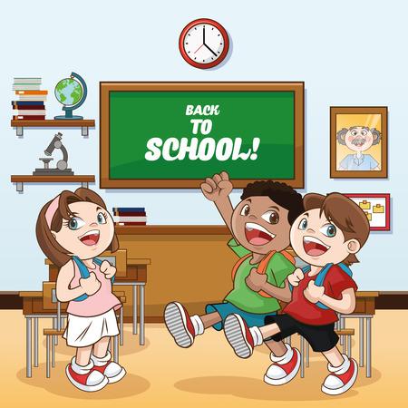 cartoon school girl: kids girl boys classroom back to school cartoon icon. Colorful design. Vector illustration