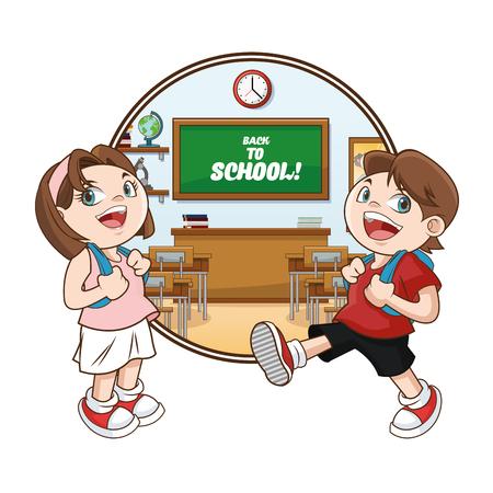 cartoon school girl: kids girl boy classroom back to school cartoon icon. Colorful design. Vector illustration Illustration