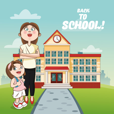 cartoon school girl: teacher girl kid building back to school cartoon icon. Colorful design. Vector illustration