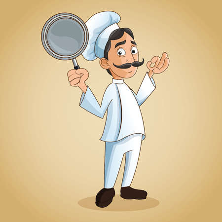 man chef mustache chefs hat frying pan person kitchen restaurant icon. Cartoon and anime design. Vector illustration