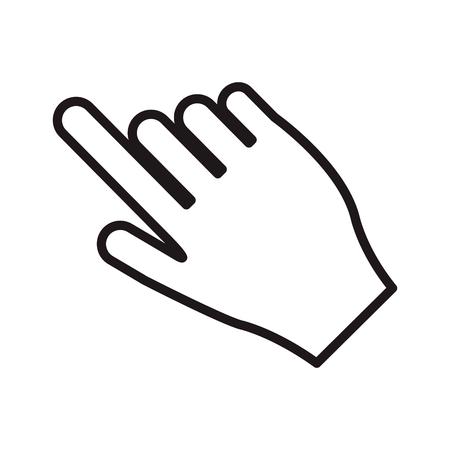 mano que señala diseño plano con el dedo índice de la ilustración del vector del icono