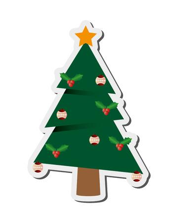 flat design christmas tree icon vector illustration