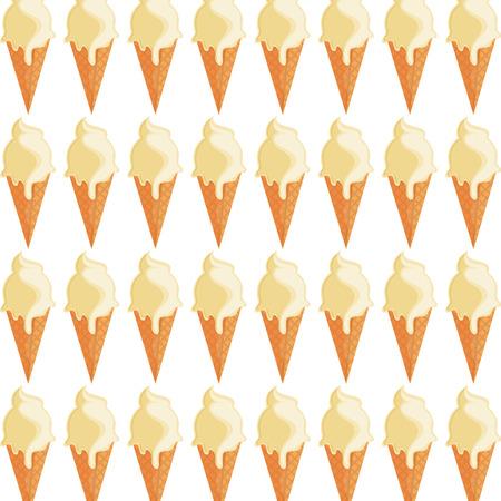 flat design ice cream cone pattern icon vector illustration
