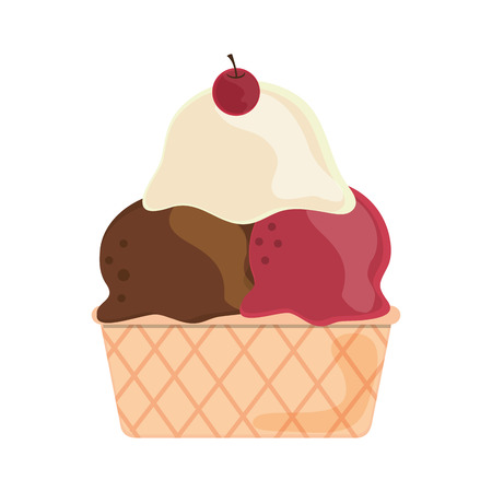 flat design ice cream cone icon vector illustration